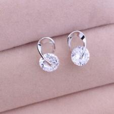 Fashion Women Silver Plated Ear Hook Crystal Colorful Rhinestone Earring Jewelry White