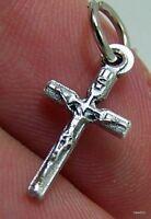 Mini Silver Cross Crucifix Pendant Jesus Christ Medal