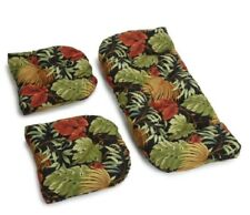 Outdoor All Weather 3pc Wicker Settee Chair CUSHION SET Black Tropical Leaf