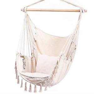 Y- STOP Hammock Chair Hanging Rope Swing-Max 330 Lbs-2 Cushions Included-Large &