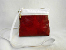 CL WHITING COLLECTION RED & WHITE LEAF LEATHER CROSS BODY/SHOULDER BAG, STUNNING