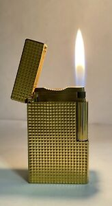 Vintage lighter Dupont Ligne 1 Gold Plated Large Model Diamond💎 Guilloche