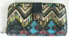 The Sak Zip Around Tribal Boho Colorful Clutch Wallet Organizer Crossbody Purse