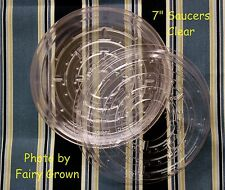 """7"""" Clear Vinyl Plastic Pot Saucers for House Plants (10 7-Inch)  5-3/4"""" @ Bottom"""