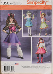 Simplicity Sewing Pattern 1350 Monster High Dressing Up Costume 7-14 Girls UNCUT