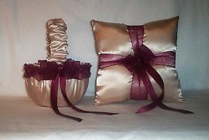 CHAMPAGNE SATIN / BURGUNDY TRIM FLOWER GIRL BASKET & RING BEARER PILLOW  #1