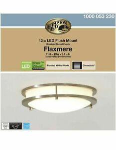 """Hampton Bay Flaxmere 11.8"""" Brushed Nickel LED Flush Mount Ceiling💡/Frosted Glas"""