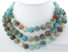 8mm round blue polychrome agate faceted necklace 50''