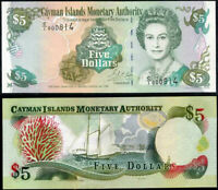 CAYMAN ISLANDS 5 DOLLARS 1998 P 22 UNC
