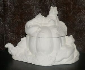 Halloween FALL Squirrels on Pumpkin  *Ceramic Bisque Ready to Paint
