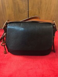 Fossil Black& Brown Leather Crossbody