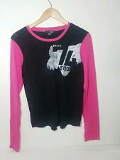 Fox Racing Pink Black Distressed Long Sleeve Shirt w/ Silver Studs Size Small