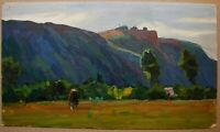 Russian Ukrainian Soviet Oil Painting landscape impressionism castle hill cow