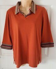 Ladies Terracotta Top Polo Shirt. Half length sleeves. Stripy Collar Size 14