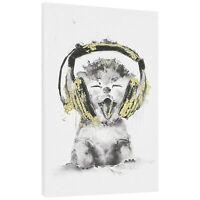 art.work Wandbild 45x30cm Katze Leinwand Leinwanddruck GERAHMT Kunstdruck
