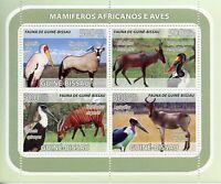 Guinea-Bissau Wild Animals & Birds on Stamps 2008 MNH Mammals Storks 4v M/S
