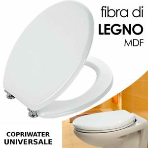 Coprivaso copriwater sedile tavoletta wc legno in mdf smaltato bianco universale