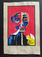 Jean-Michel Basquiat mixed media drawing on paper signed and stamped hand carved