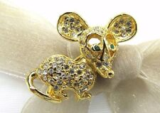 18k Gold Plate Mouse Swarovski Element Austrian Crystal Rhinestone Brooch Pin