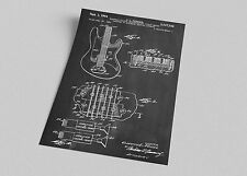 ACEO Fender Electric Guitar Patent Blueprint Art Canvas Giclee Print