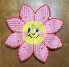 Handmade - Happy Flower Needlepoint Working Wall Clock - Very Unique