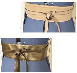 Tan Gold Reversible Leather/Suede Look? Wide Obi Wrap Waist Tie Belt One Size