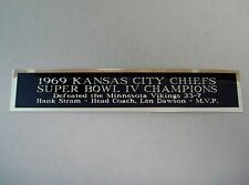Kansas City Chiefs Super Bowl 4 Nameplate For A Football Helmet Case 1.5 X 8