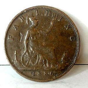 1886 Farthing Queen Victoria Bun Head