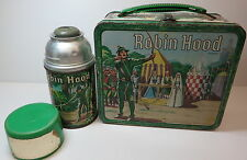 1956 Robin Hood Lunchbox & Thermos Bottle Aladdin Metal Old Vintage Kids 1950s