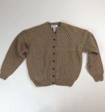 Vtg Robert Scott Beige Brown 100% Wool Cable Knit Cardigan Sweater Sz XL