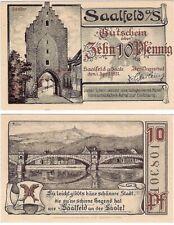 Germany 10 Pfennig 1921 Notgeld Saalfeld UNC Uncirculated Banknote