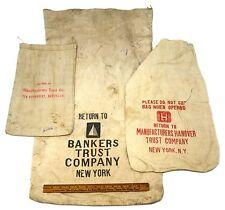 Vintage CANVAS BANK DEPOSIT BAGS Lot; 3 BANKERS TRUST Manufacturers Hanover M&T
