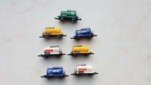 Märklin 1:220 mini club  Z-Spur  7tlg. verschiedene Kesselwagen  2achs.
