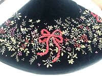 Vintage LOIE RIBBON CHRISTMAS TREE SKIRT Victorian Green Velvet GUMPS DEPT STORE