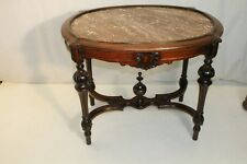 american Victorian Walnut Carved Marble Top Parlor Center Table, 19th Century