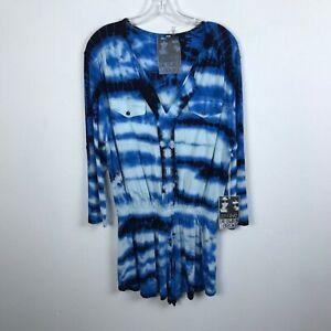 Young Fabulous & Broke Romper Blue White Tie Dye Size M Modal Spandex Womens