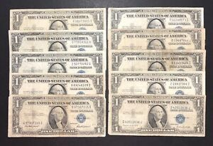 1935 Silver Certificate 1$ Dollar Bills - Lot Of 10 Notes (P110)