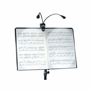Dual twin 2 clip on book reading light music stand led lights