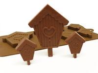 6+1 Birdhouse Bird House Chocolate Candy Silicone Bakeware Mould Cake Baking Pan