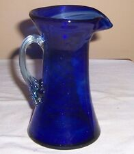 ~~ SMALL  COBALT BLUE SWIRLED GLASS  PITCHER WITH CLEAR HANDLE