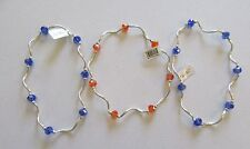 My Fun Color Anklets Set of 3- stretchy -blue and orange beads