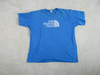 North Face Shirt Adult Extra Large Blue White Outdoors Hiking Climber Mens A39*