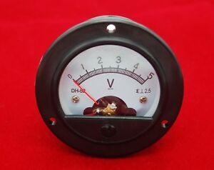 DC 0-5V Round Analog Voltmeter Analogue Voltage panel meter Dia. 66.4mm DH52