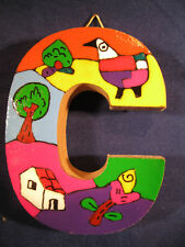 La Palma Folk Art from El Salvador Letter C handcrafted on Recycled Wood