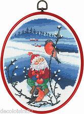 Permin  12-0526 Père Noel et Oiseaux  Kit  Point de Croix Compté + Cadre tambour