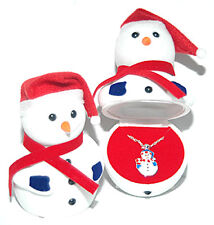 CHILDS CHRISTMAS SNOWMAN NECKLACE IN MATCHING BOX (BN058)