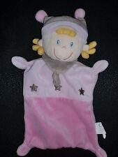 doudou plat lutin fille rose étoile grise NICOTOY