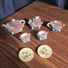 Vintage Elephant Noah's Ark Doll Size Mini Resin Tea Set, 9 pcs.