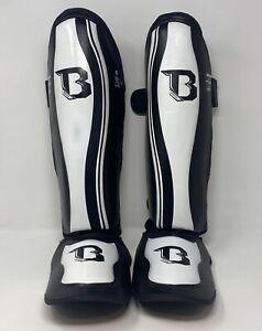 Booster Size Large Black White BSG Pro Range Muay Thai Kickboxing Shin Guards