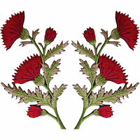 Pair of Red Thistle Flower Patches Iron / Sew On Embroidered Patch Badge Flowers